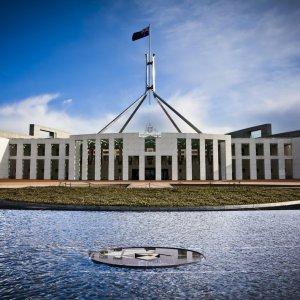 AU.Canberra_Parliament_House Der Blick auf das Parliament House.