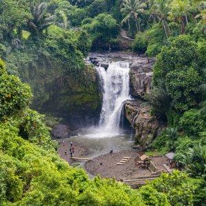 Bali.Ubud.Wasserfall Luftansicht von Wasserfall im Dschungel
