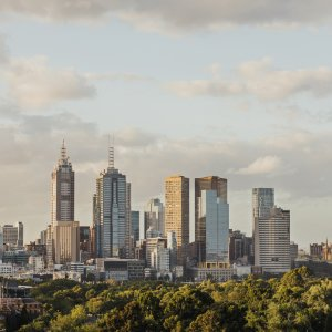 AU.Melbourne_Skyline Der Blick auf die Skyline von Melbourne.
