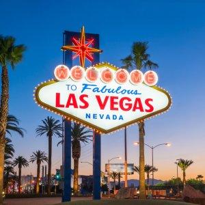 US.AR.Las Vegas Schild Das bekannte Las Vegas Schild bei Nacht