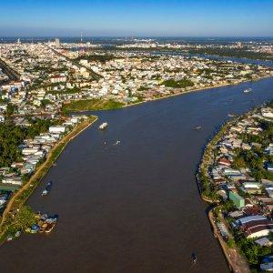 VN.Can_Tho Der Blick auf die Stadt Can Tho mit Fluss.