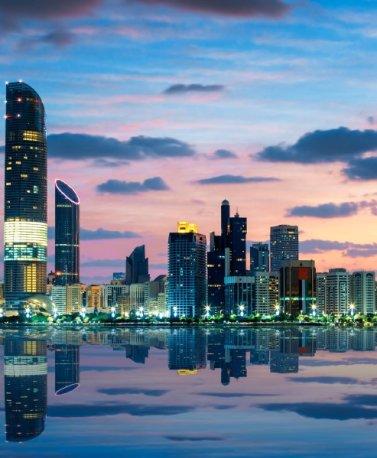VAE.Abu Dhabi.Skyline by night