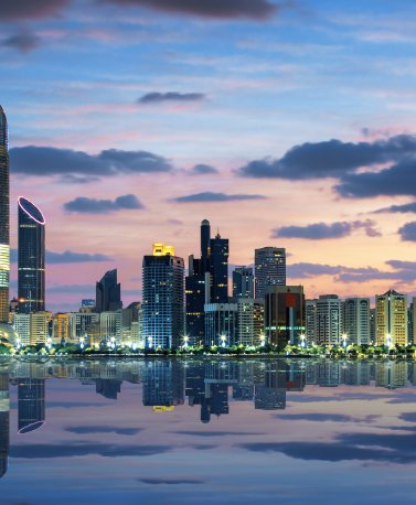 VAE.Abu Dhabi.Skyline by night