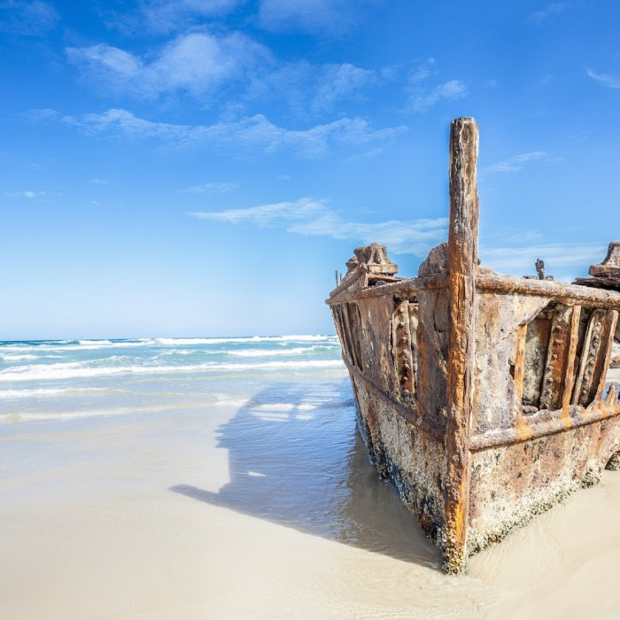 AU.Fraser Island.Shipwreck Schiffswack am Strand auf Fraser Island