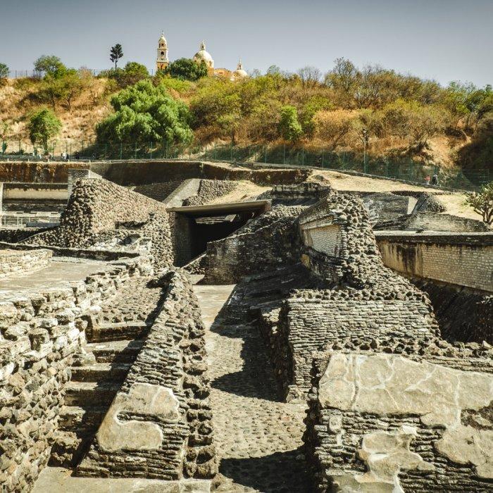 Die Überreste der Pyramide von Cholula