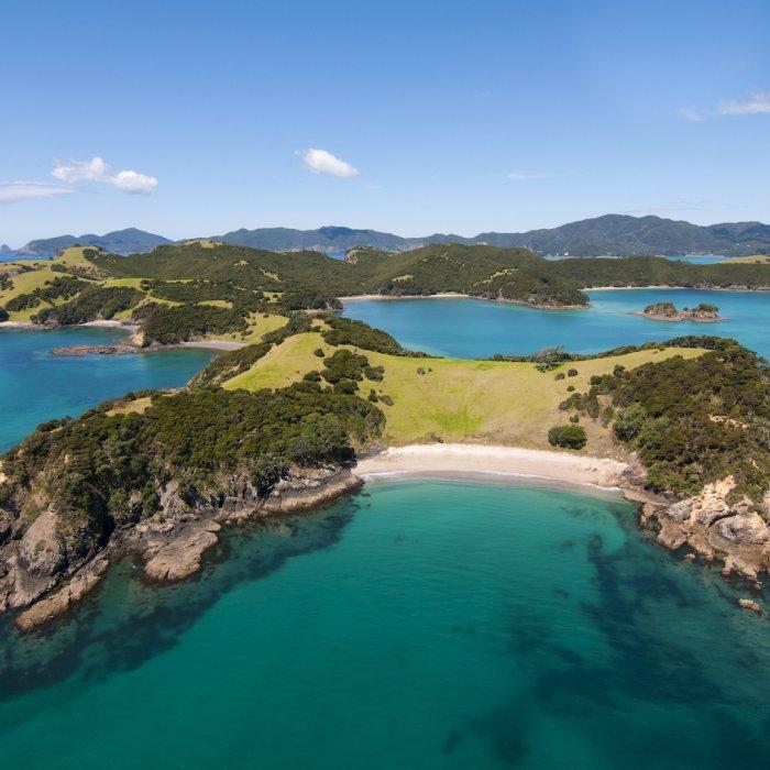 NZ.Bay of Islands Insel der Bay of Islands im türkisblauen Wasser.