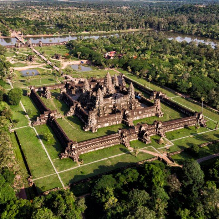 Ansicht von Oben auf den Tempel von Angkor Wat