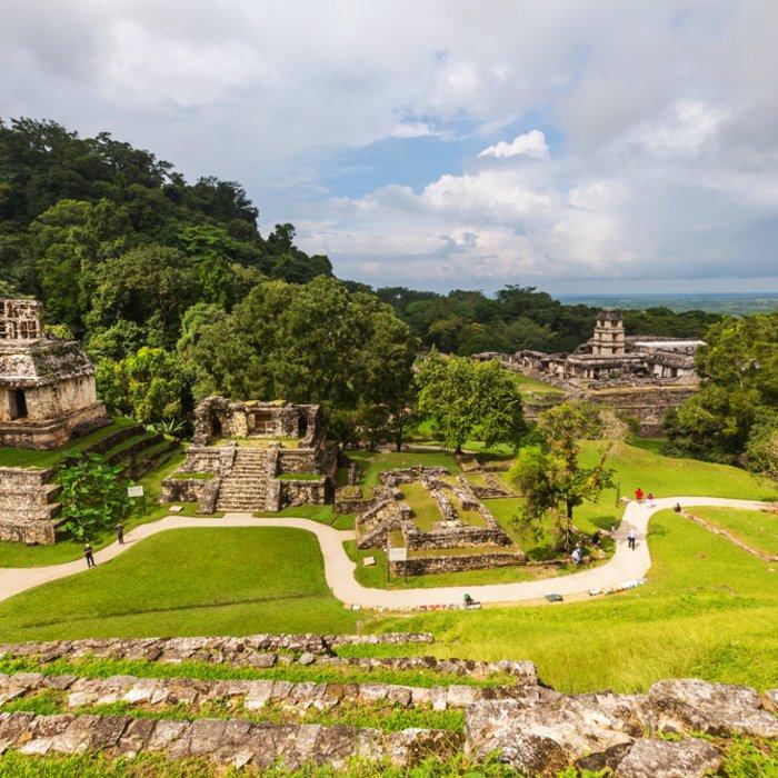 Blick auf die alte Maya-Stadt Palenque