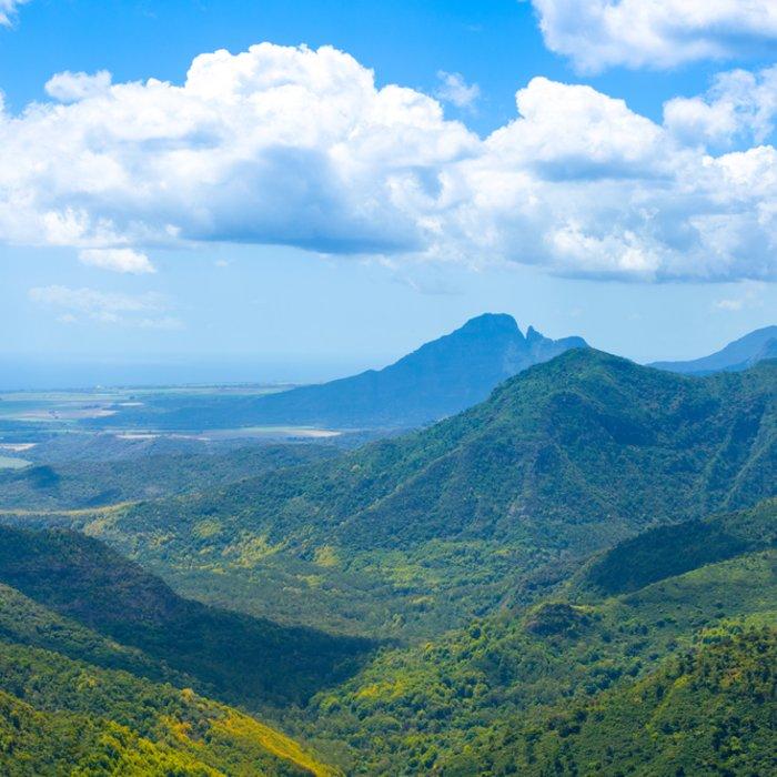 """MU.Nationalpark Landscape Grüne Landschaft des """"Black River Gorges National Park"""" in Mauritius"""
