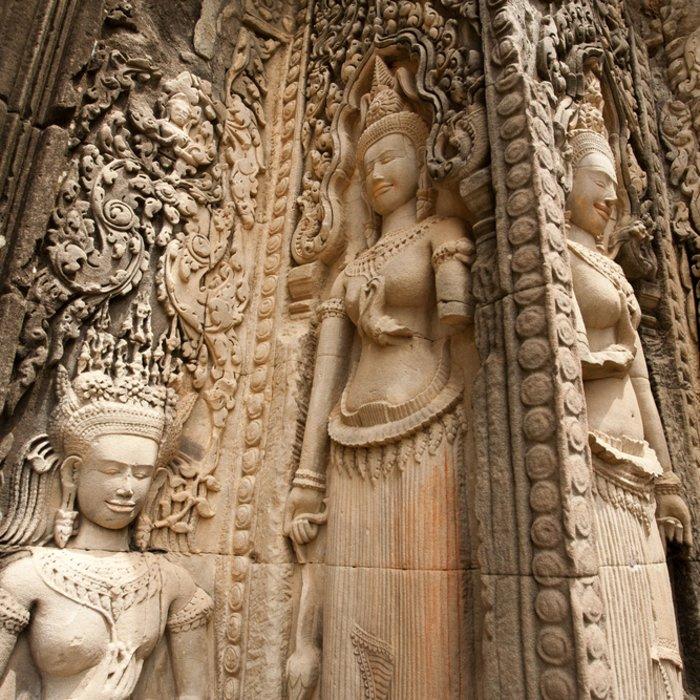 Steinskulpturen im Tempel Preah Khan in Siem Reap