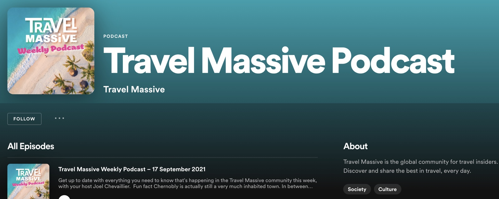 Picture of Travel Massive podcast on Spotify website.