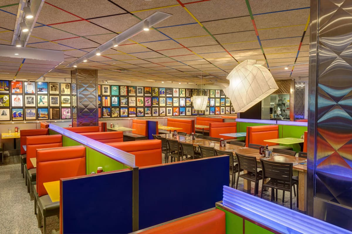 Colorful interior of Tick Tock Diner in New York.