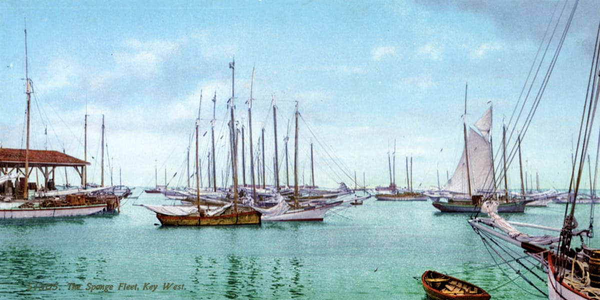Painting of ships at sea