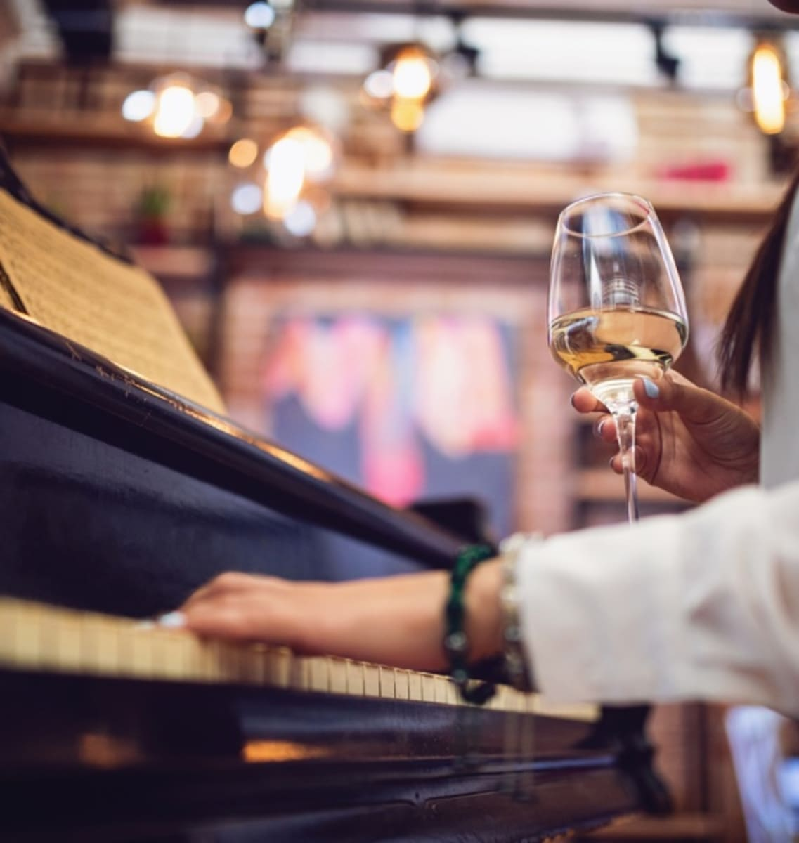wine and piano