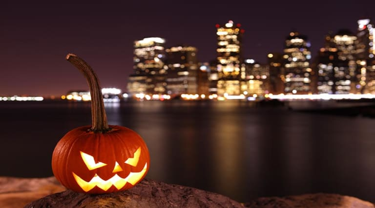 Jack o Lantern in front of NYC Skyline
