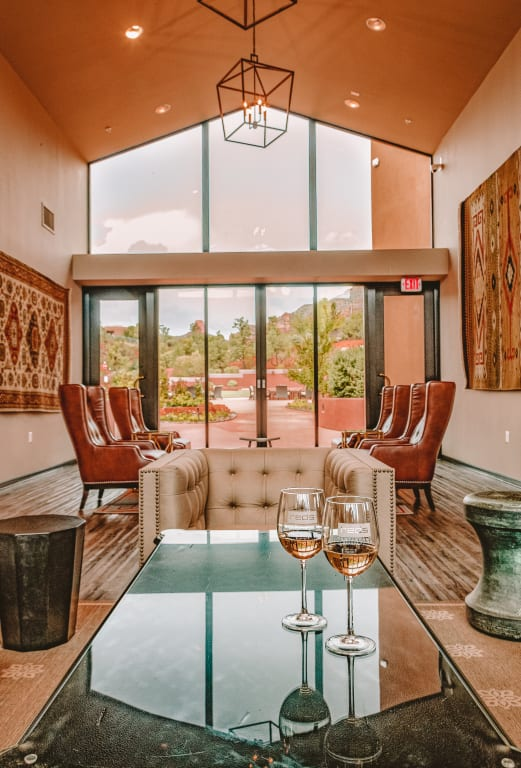 Sedona Rouge Interior Seating Area with Wine