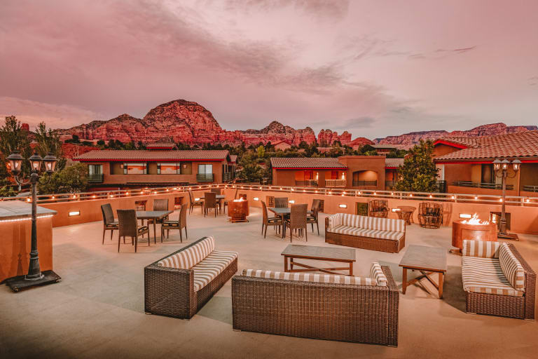Sedona Rouge Exterior Terrace at Night