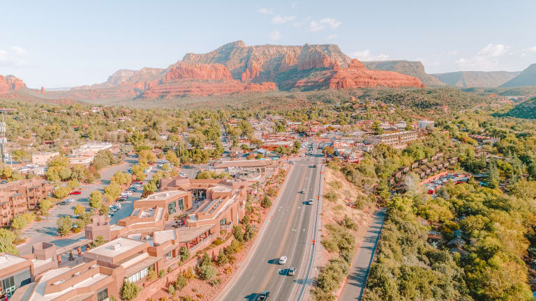 drone view of sedona