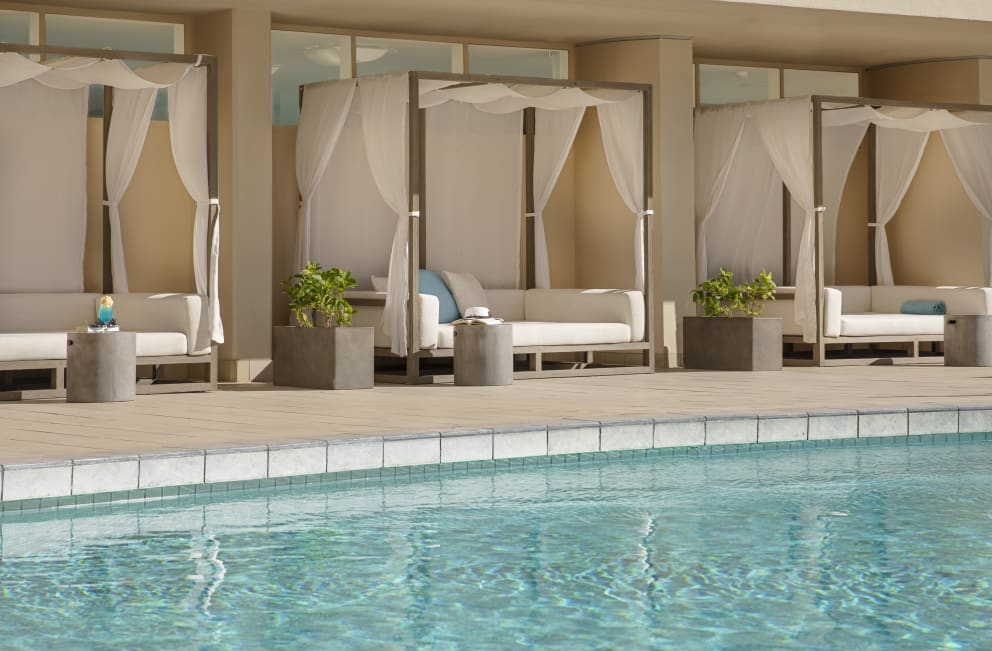 All-new poolside cabanas await your arrival