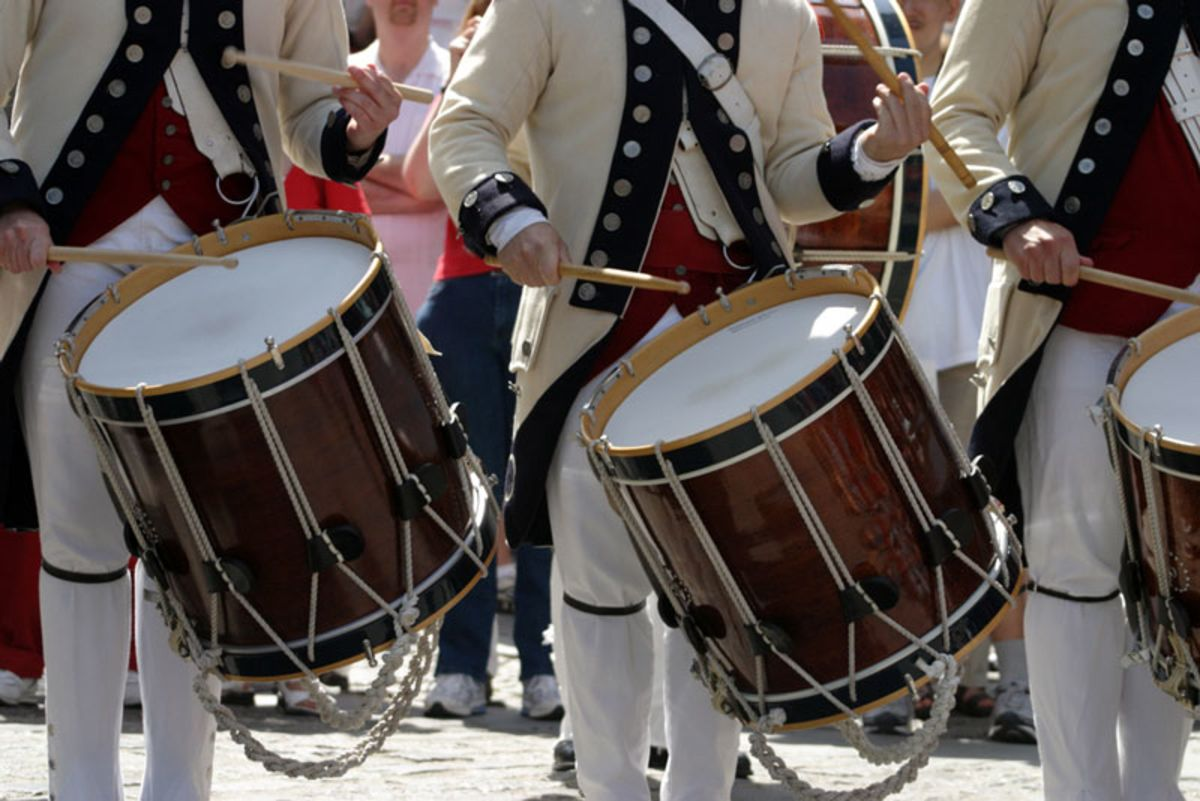 men-playing-drums-in-4th-of-july-reenactment