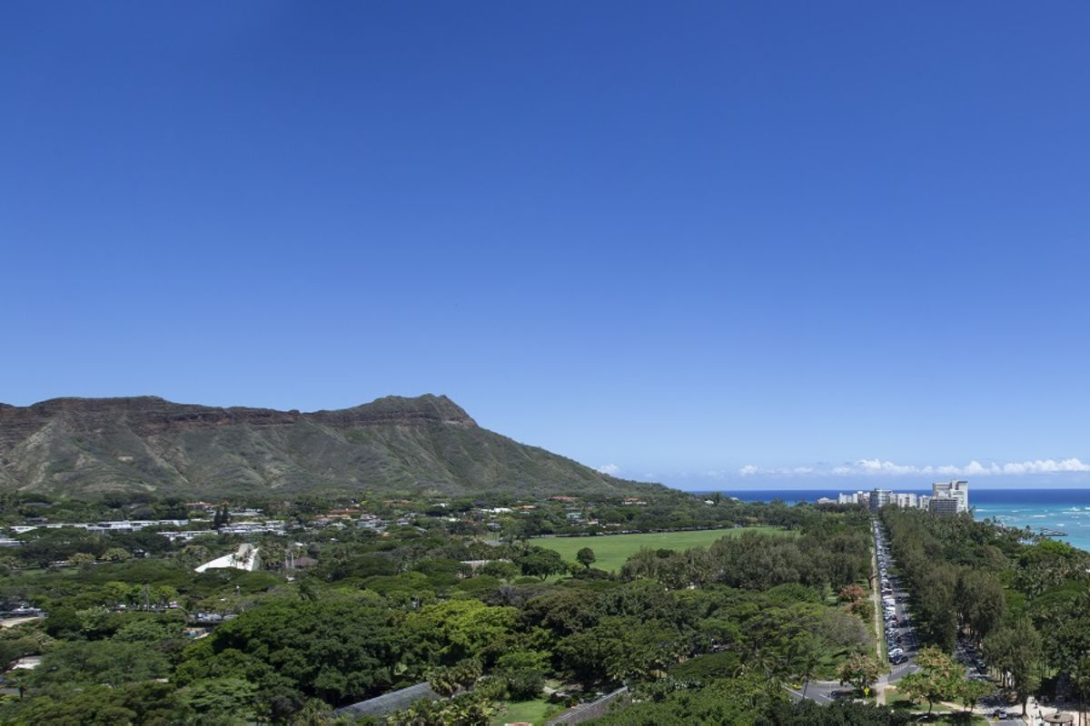 View of Diamond Head, Kapiolani Park and Pacific Ocean