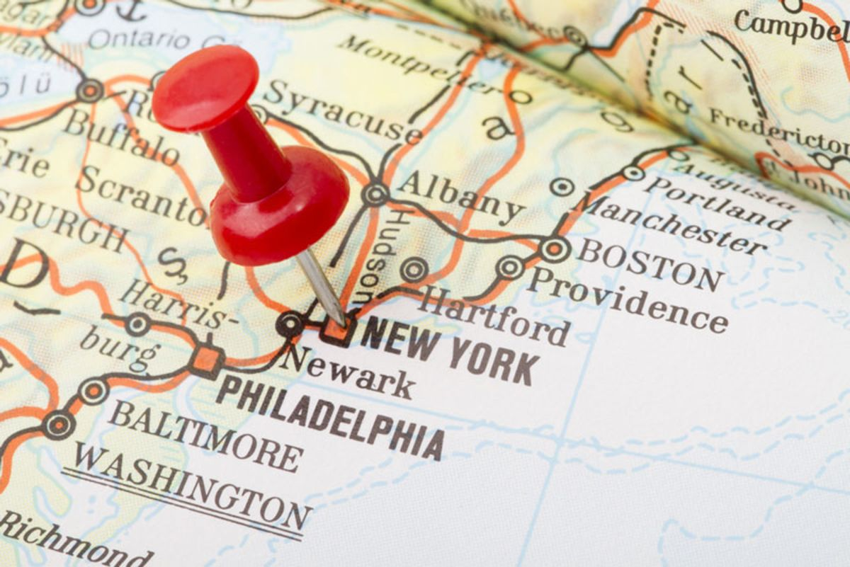 Map of United States with a red pin on New York