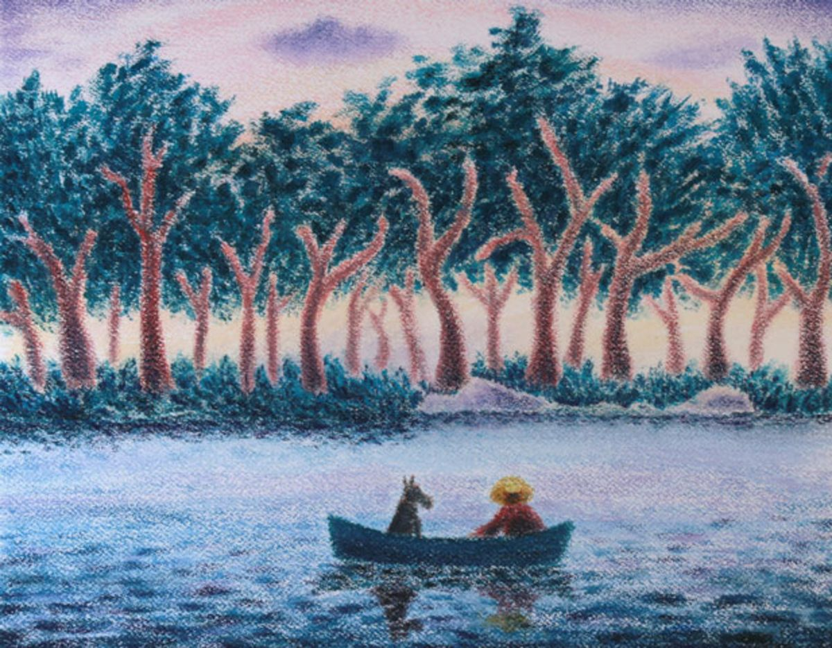 Dan Brenton painting with man and dog in rowboat on a river