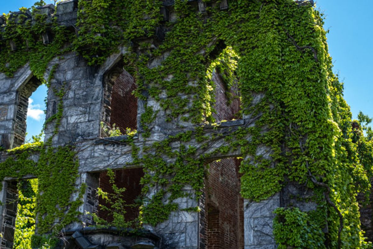Close up of Smallpox Hospital of Roosevelt Island with facade covered in ivy.