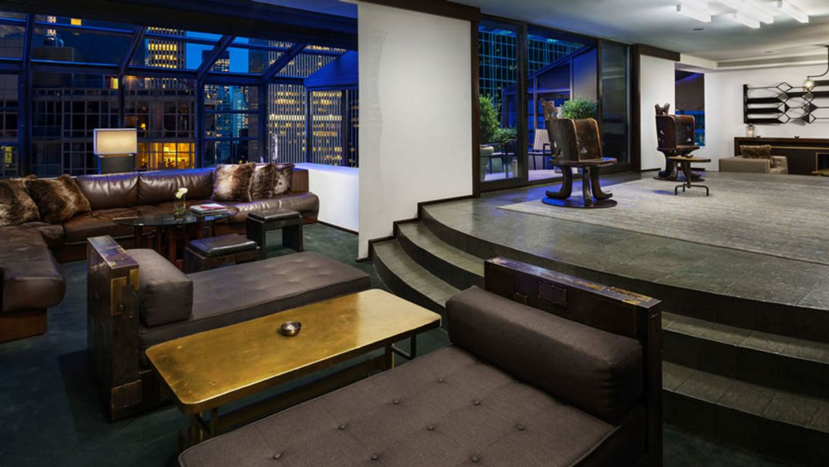 Penthouse in Royalton New York in the evening.