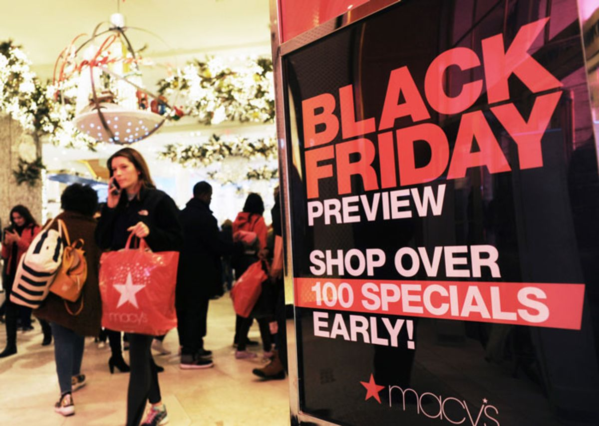 Black Friday sign in Macy's.