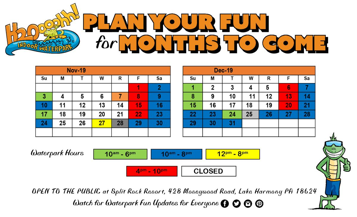 2 mo Plan your 2019 H2O Adventure Hours October to December