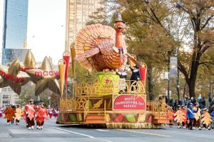 Macy's Thanksgiving Day Parade and turkey float in New York.