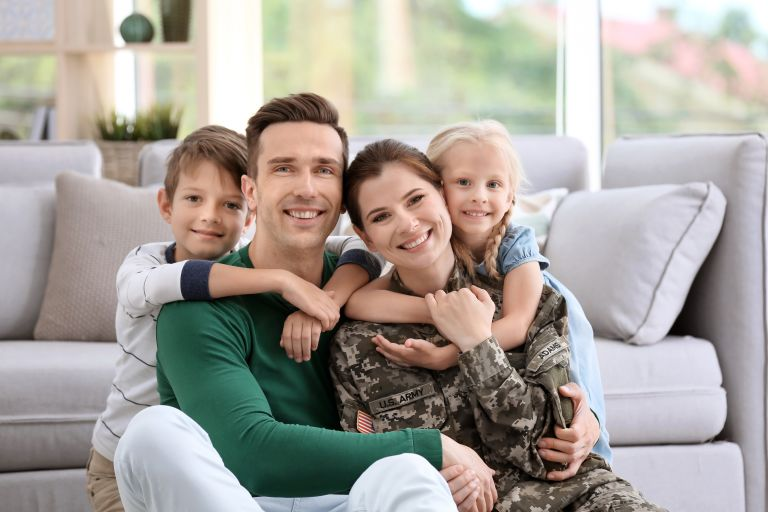 Family of four with Military mom