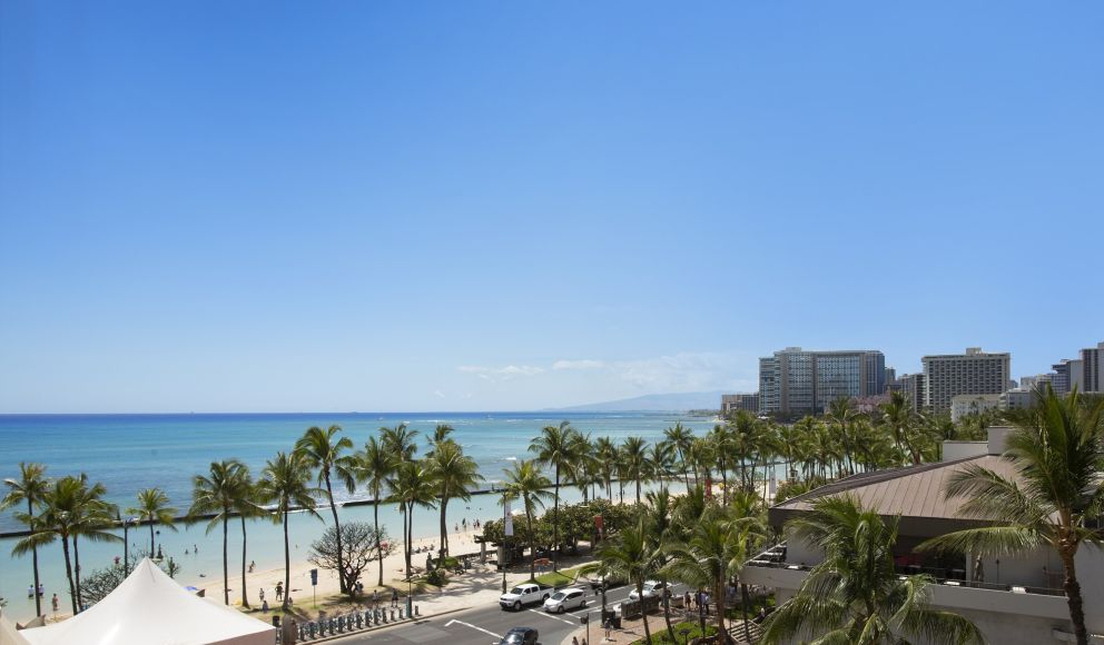 View of ocean and Kalakaua Avenue from hotel