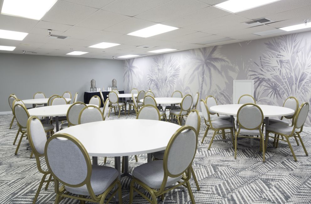 Meeting room with 6 round tables with 6 chairs