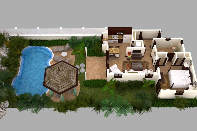 One Bedroom Standard Suite with Garden Pool Floor Plan