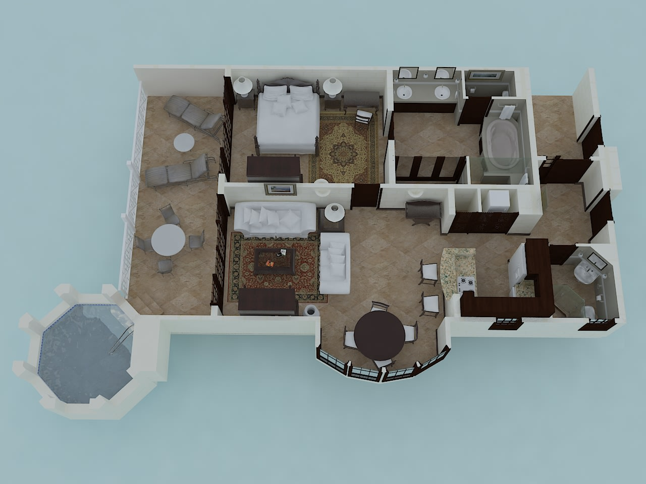 One Bedroom Suite with Plunge Pool Floor Plan