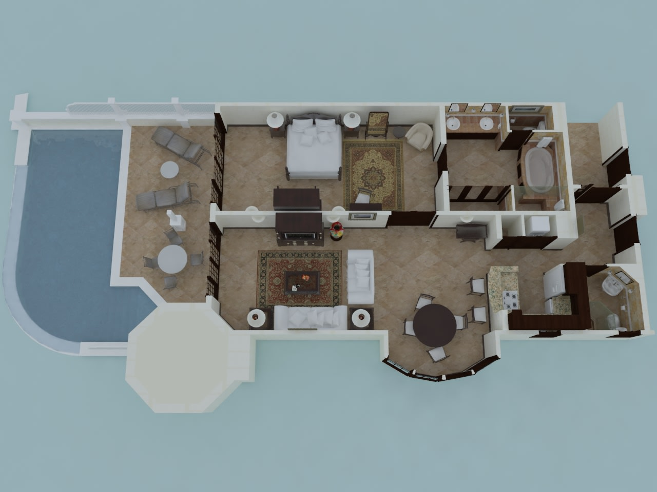 One Bedroom Suite with 28' Pool Floor Plan