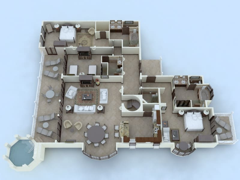 Three Bedroom Penthouse with Plunge Pool Floor Plan