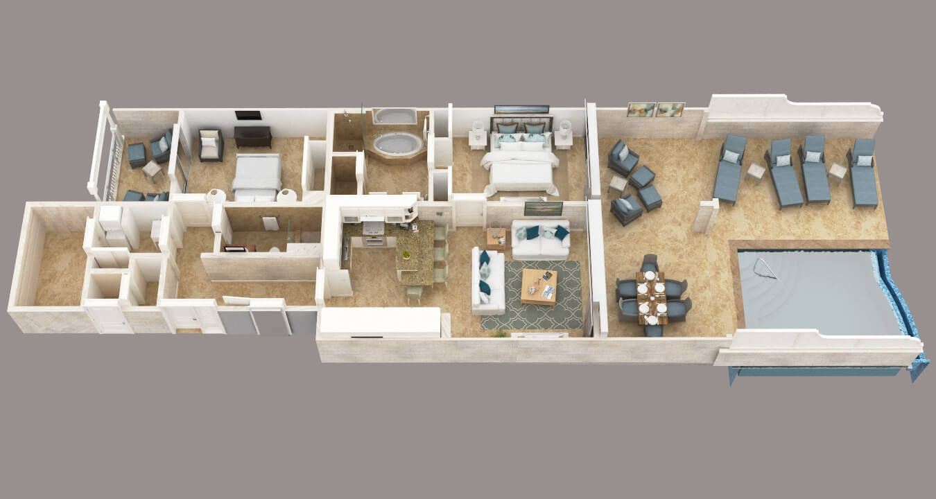 Two Bedroom Contemporary Suite with 13' Pool Floor Plan