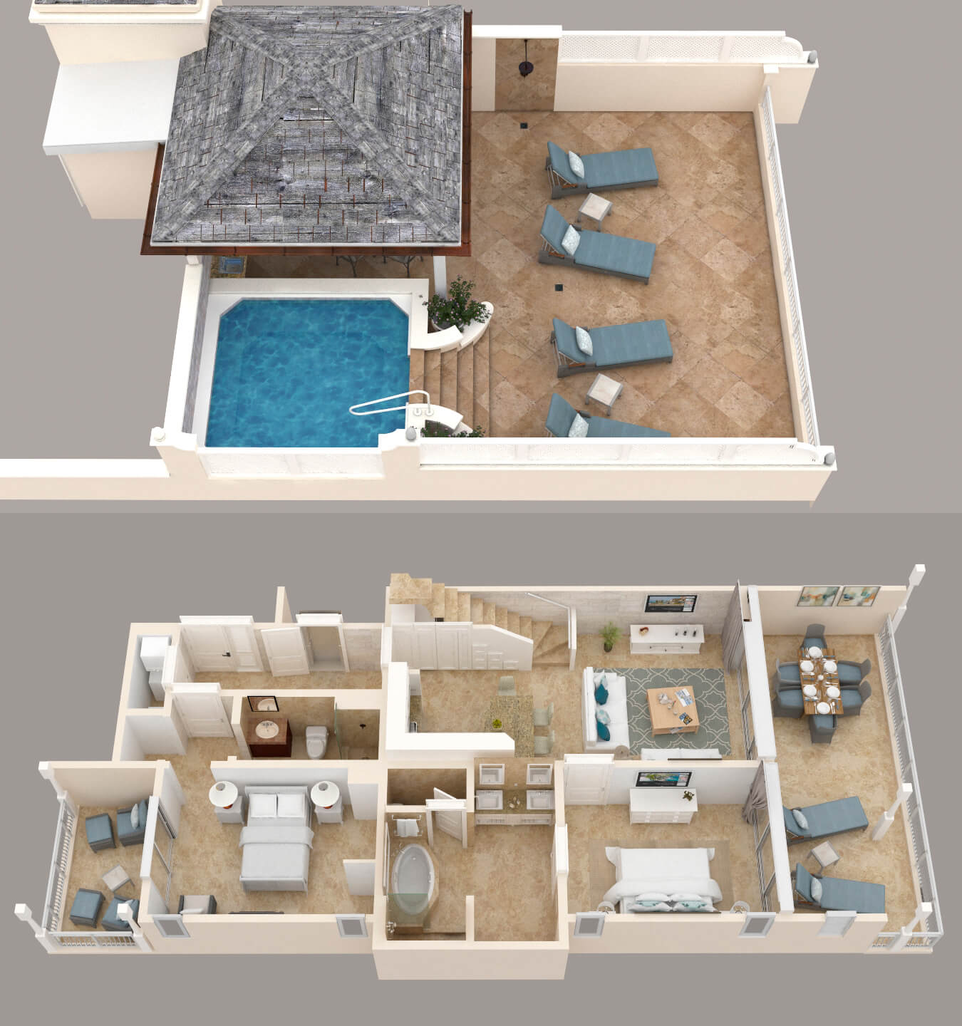 Two Bedroom Contemporary Penthouse & Rooftop Pool Floor Plan