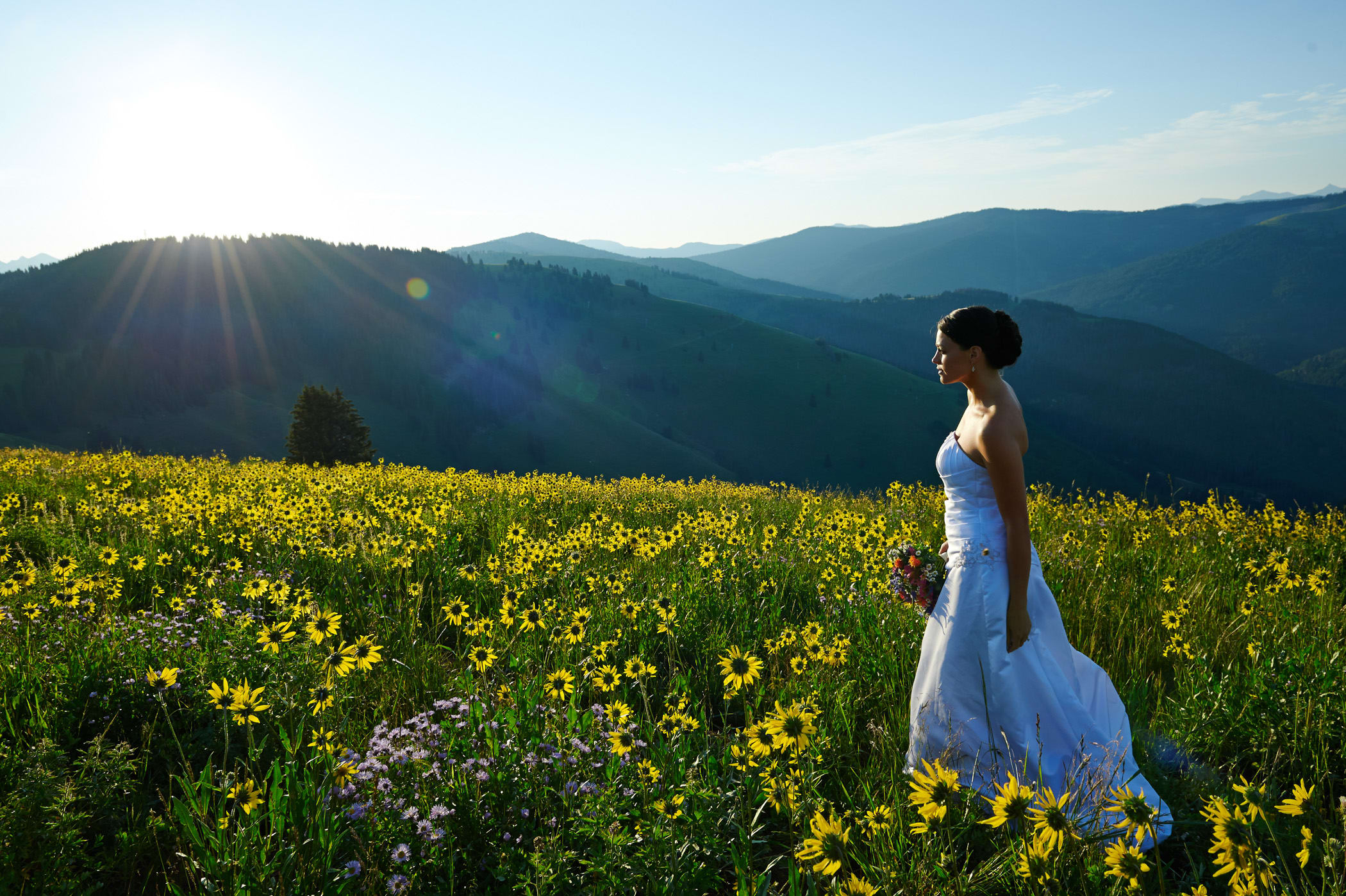 bride walking in field