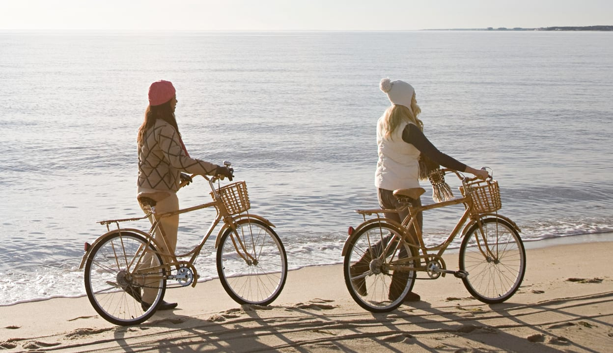 Women standing by bikes by the sea