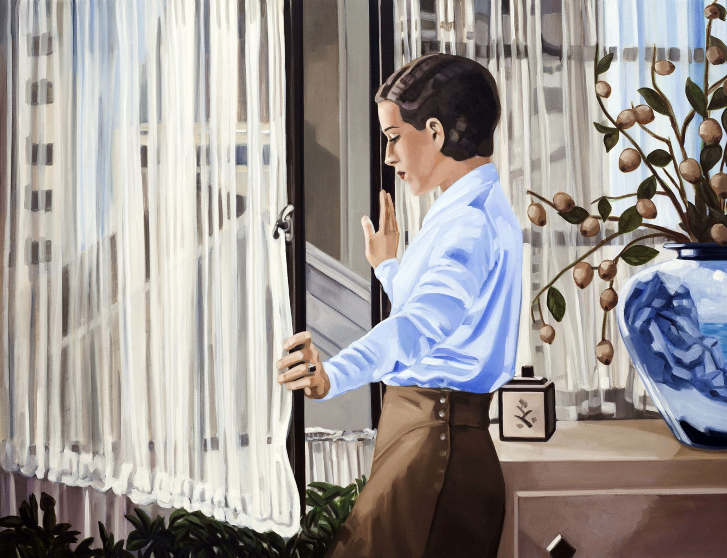 woman looking out window art