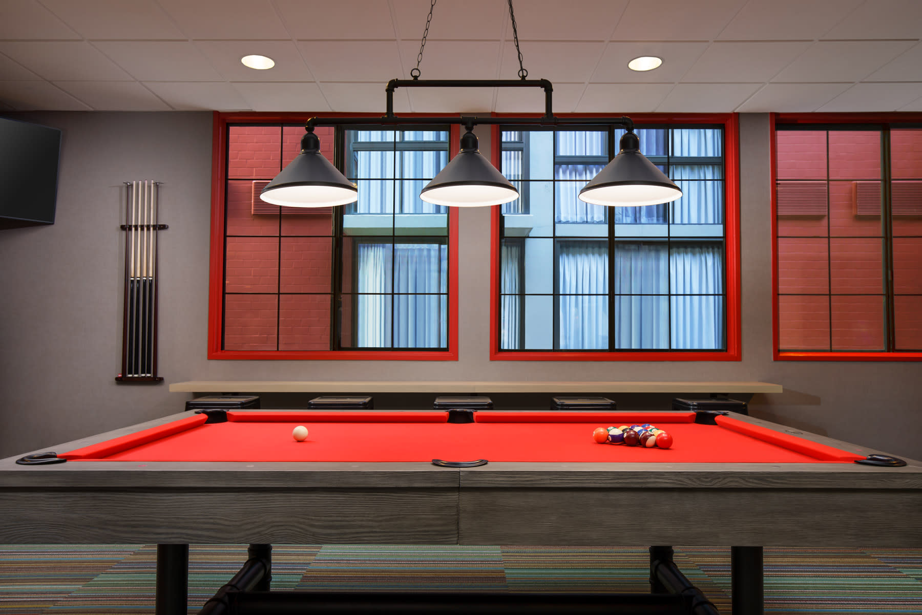 Red snooker table