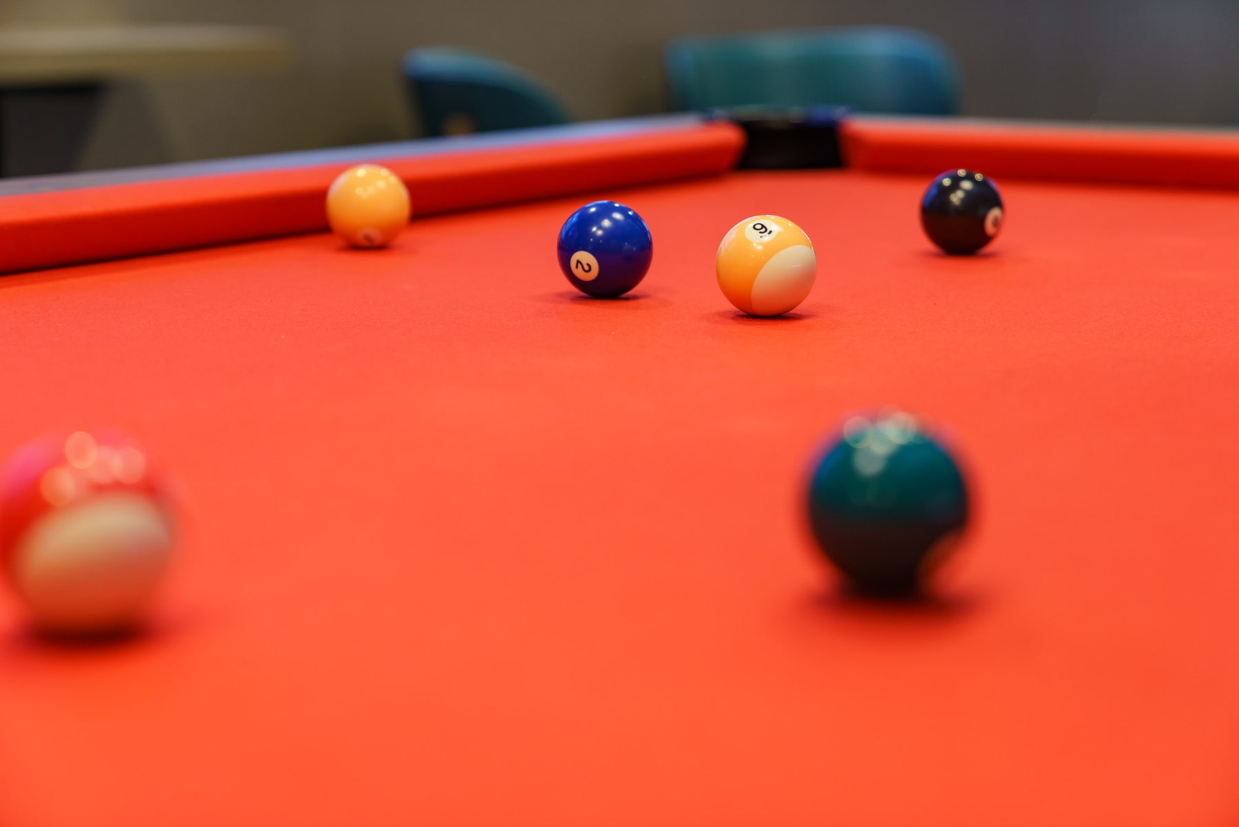 Billard balls scattered on snooker table