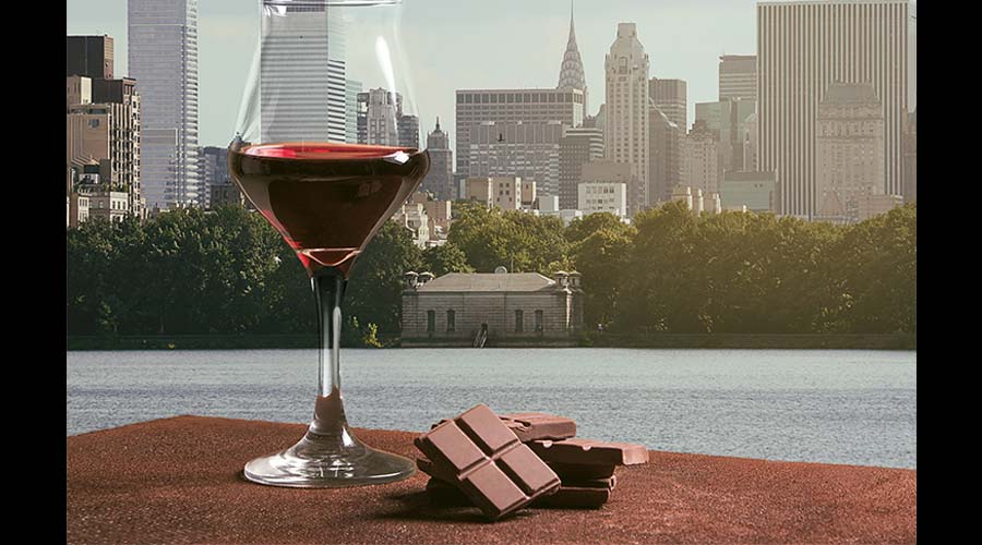 Glass of wine and chocolate.