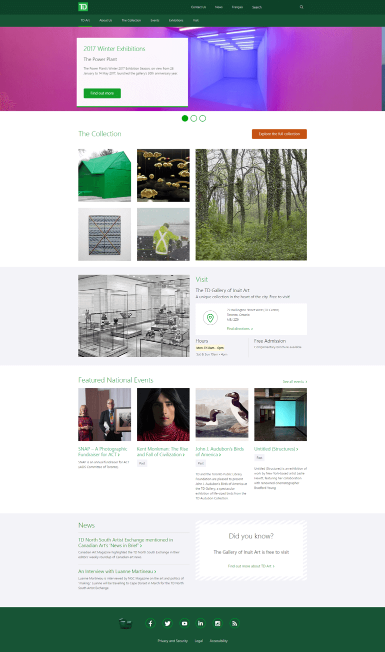 This an image of the art.td.ca website home page layout.