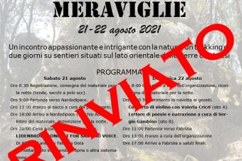L'evento Anello delle Meraviglie previsto per i giorni 21 e 22 agosto è rinviato.