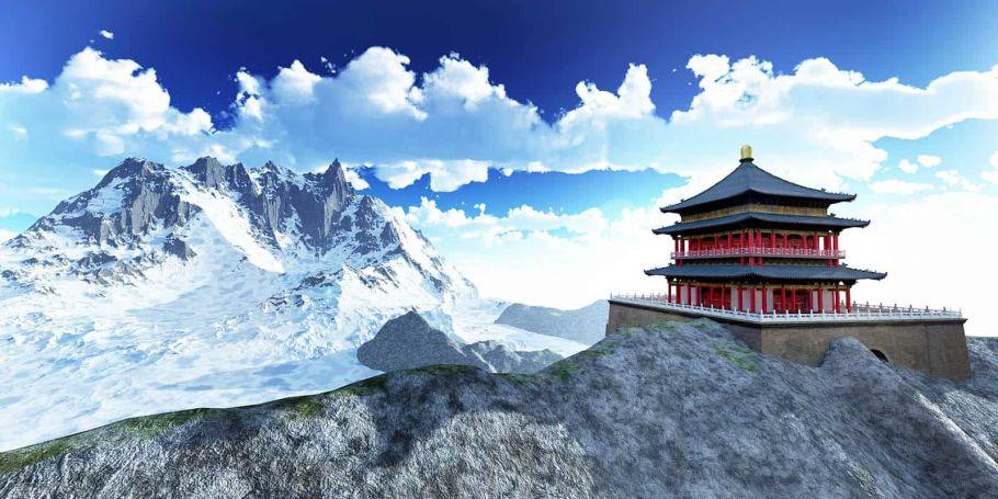 bhutan temple on mountain
